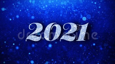 2021 Happy New Year Blue Text Wishes Particles Greetings ...