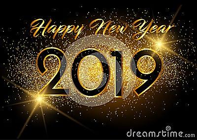 Happy New Year 2019 card Golden design . Stock Photo