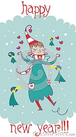 Happy new year cartoon fairy