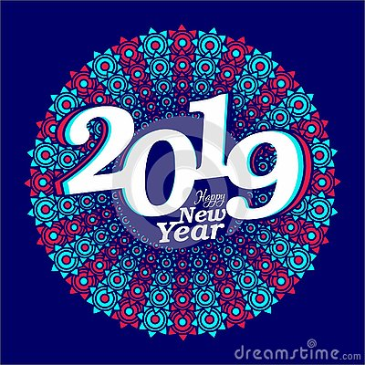 Happy new year creative banner 2019 Vector Illustration