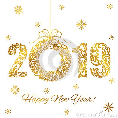 Happy New Year 2019. Decorative Font made of swirls and floral elements. Golden Numbers and Christmas wreath isolated on a white Vector Illustration