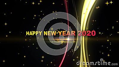 Happy New Year 2020 - erstellt durch animierten Text, Sterne, Zeilen Effekt lizenzfreie abbildung