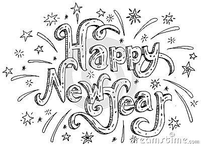 happy new year fire cracker rocket cartoon vector