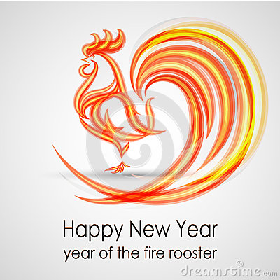 Happy New Year 2017. Fire rooster. Greeting Card design. Vector eps 10 Vector Illustration