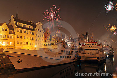 Happy new year, fireworks in Gdansk, Poland Editorial Image
