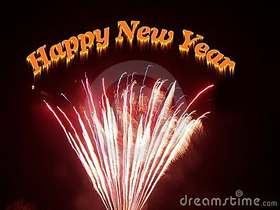 Happy new year gift card with fireworks