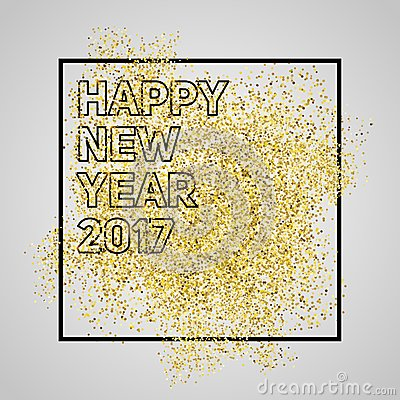 happy new year 2017 gold glitter new year gold background for stock image