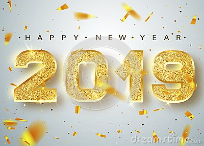 2019 Happy new year. Gold Numbers Design of greeting card of Falling Shiny Confetti. Gold Shining Pattern. Happy New Vector Illustration