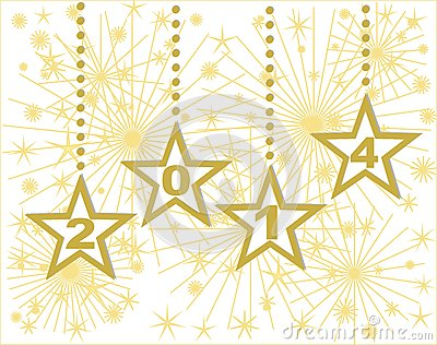 Happy new year 2014 gold stars