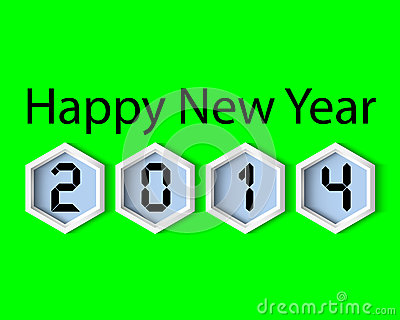 Happy New Year 2014 Green digital