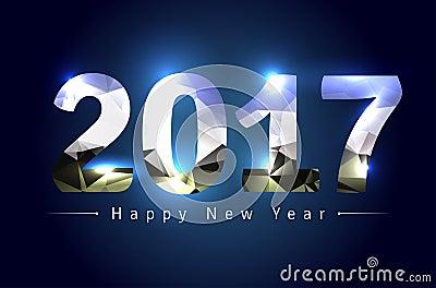 Happy New Year 2017 Cartoon Illustration