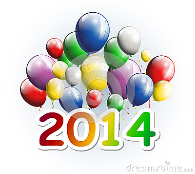 Happy new year 2014 greeting card with party balloons