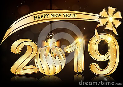 Happy New Year 2019 - elegant brown greeting card with 3d text Stock Photo