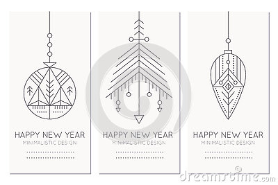Happy New Year greeting card template with hanging decorations Vector Illustration