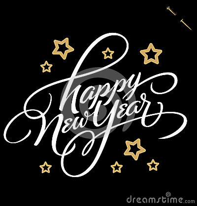 Free HAPPY NEW YEAR Hand Lettering (vector) Royalty Free Stock Photography - 40321327