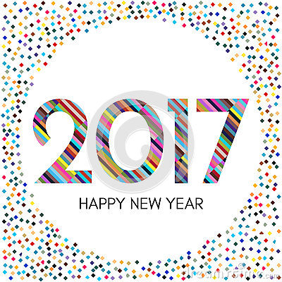 Happy New Year 2017 Label With Colorful Confetti. Stock Vector ...