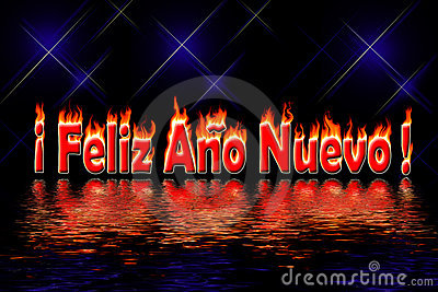Happy new year letters fire flooding water