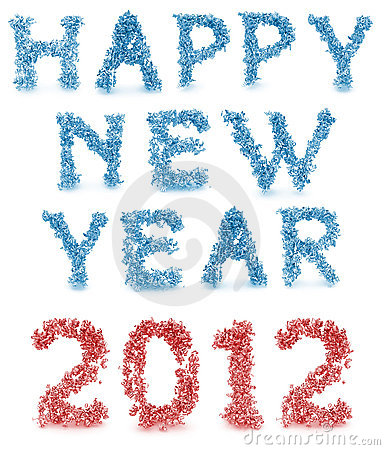 Happy new year made from 3d letters