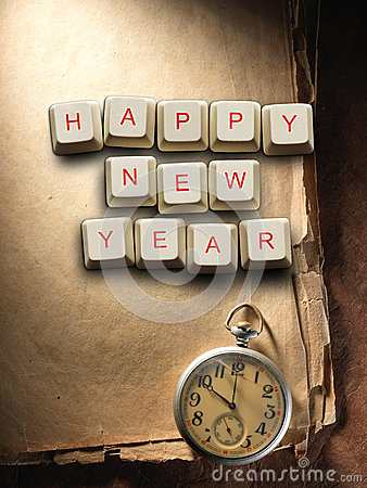 Free Happy New Year  Made Of Computer Keys And Compass, Background Stock Image - 60947241