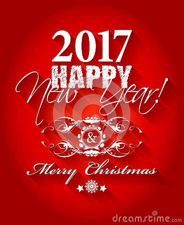 2017 Happy New Year And Merry Christmas Card Or Background. Stock ...