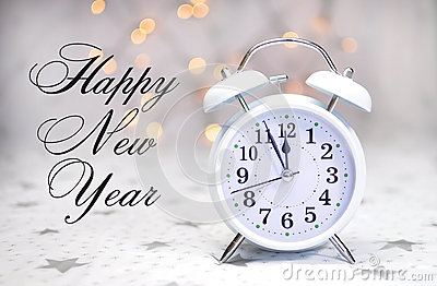Happy New Year message with white retro clock with sample text