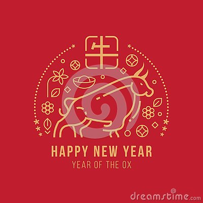 Happy new year , year of the ox with abstract gold line ox zodiac sign and china text mean ox Vector Illustration
