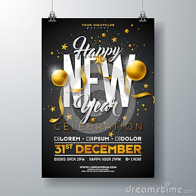 Free Happy New Year Party Celebration Poster Template Illustration With Gold Glass Ball And Typography Design On Black Royalty Free Stock Photos - 131970768