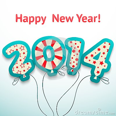 Happy New Year 2014 retro greeting card with