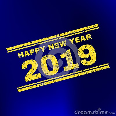 HAPPY NEW YEAR 2019 Scratched Stamp Seal on Gradient Background Vector Illustration