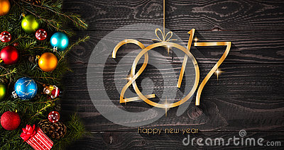 2017 Happy New Year seasonal background with Christmas baubles Stock Photo