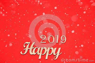 Happy new year. Sigh symbol from among 2019 Stock Photo