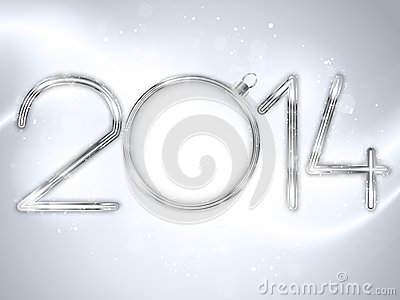Happy New Year 2014 Silver Background