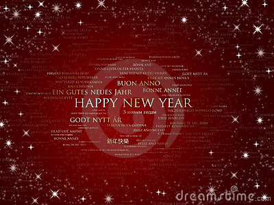 Happy new year sparkling red all languages