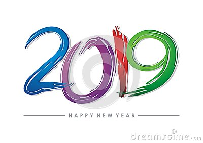 2019 happy new year text - number design Stock Photo