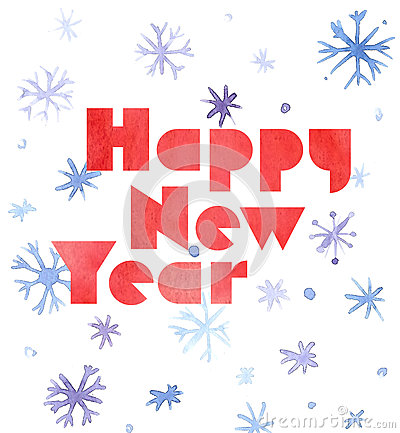 Free Happy New Year Watercolor Card With Snowflakes And Lettering, Cute Kawaii Retro Style Stock Photography - 81327612