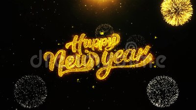 happy new year wishes greetings card invitation celebration firework looped stock footage video of magic event 131370316