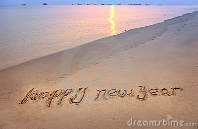 Happy New Year Written In Beach Stock Photography - Image ...