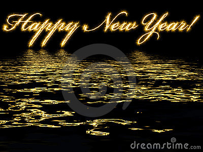 Happy New Year-written with reflection in water