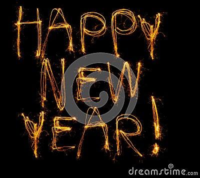 Happy New Year written in sparklers
