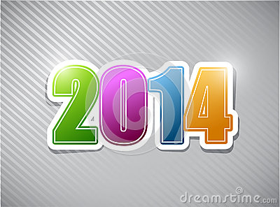 Happy new years 2014 colorful card illustration