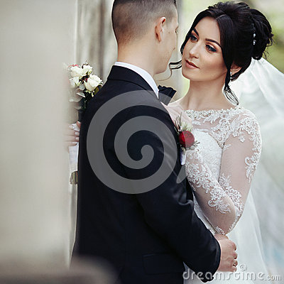 Free Happy Newlywed Brunette Bride Hugging Handsome Groom Near Old Wa Stock Images - 65468134