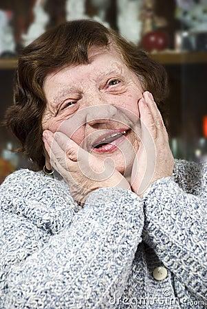 Happy nice senior woman