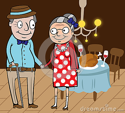 Happy old couple celebrate thanksgiving day