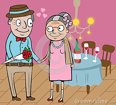 Happy old couple celebrate Valentine
