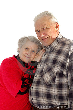 Happy old couple smile