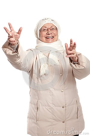 Happy old lady with open arms smiling