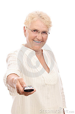 Happy old lady with remote control