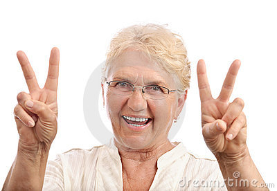 Happy old lady victory sign