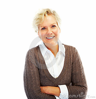 Happy old woman with her hands folded on white
