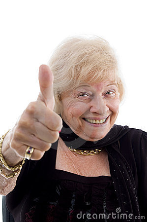Happy old woman showing thumb up
